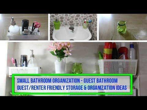 Small Bathroom Organization - Guest Bathroom | Guest/Renter Friendly Storage & Organization Ideas