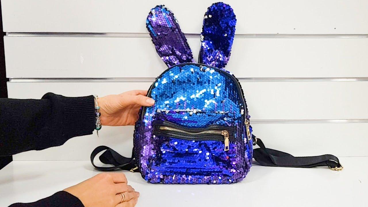 2b44be3043ef Переливающийся рюкзак с ушками, сине-фиолетовые пайетки! - YouTube