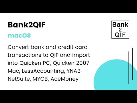 Bank2QIF(Mac):Convert CSV/Excel/PDF/QFX/QIF/OFX/QBO to QIF & import