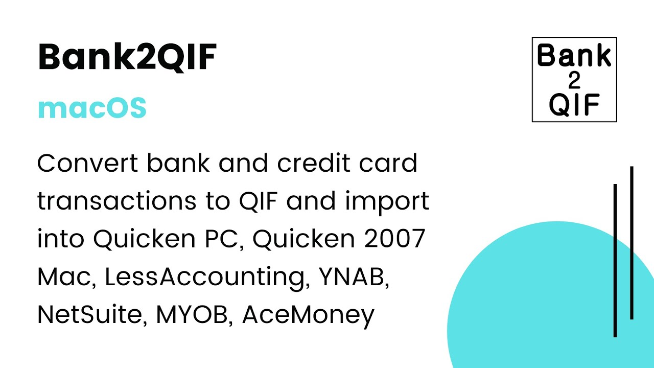 Bank2QIF(Mac):Convert CSV/Excel/PDF/QFX/QIF/OFX/QBO to QIF & import into  your accounting soft [2019]
