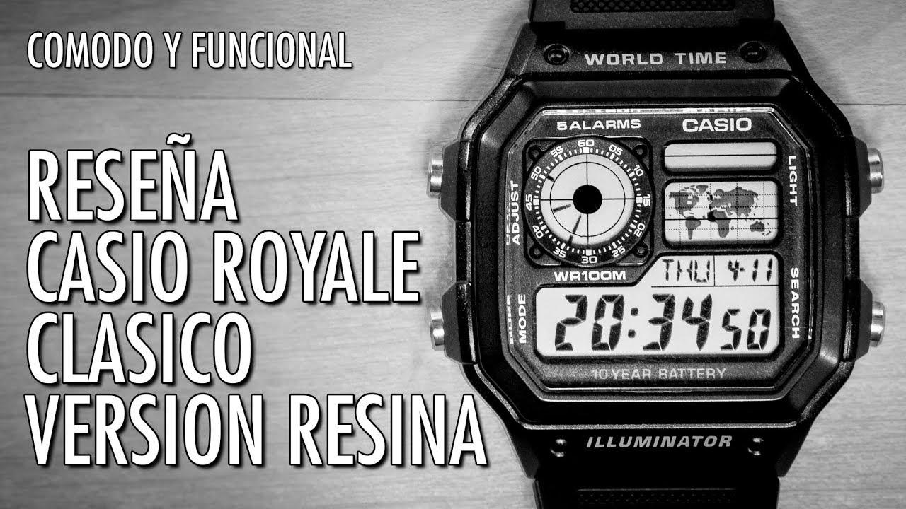 8a9bacf9fed4 Reseña Casio Royale AE1200WH de Resina Reloj Digital Horario Mundial en  Español