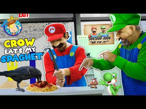 MARIO BROS FIX UP AN OLD SCHOOL: Crow vs Crowbar (FUNnel Family Skit Vision)