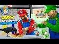 Mario Bros Fix Up Old Baldis Basics School: Crow Vs Crowbar  Funnel Family Skit