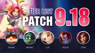 LoL Tier List Patch 9.18 by Mobalytics (New Star Guardians) - League of Legends