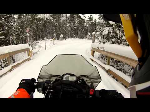 Snowmobile Keweenaw Trail 3 over Brockway Mtn Trail to Copper Harbor, MI - Part 1