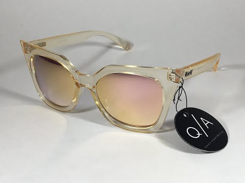 015306bc31392 New Authentic Quay Harper Sunglasses Cat Eye Clear Gold Plastic Gold Pink  Mirror Lens
