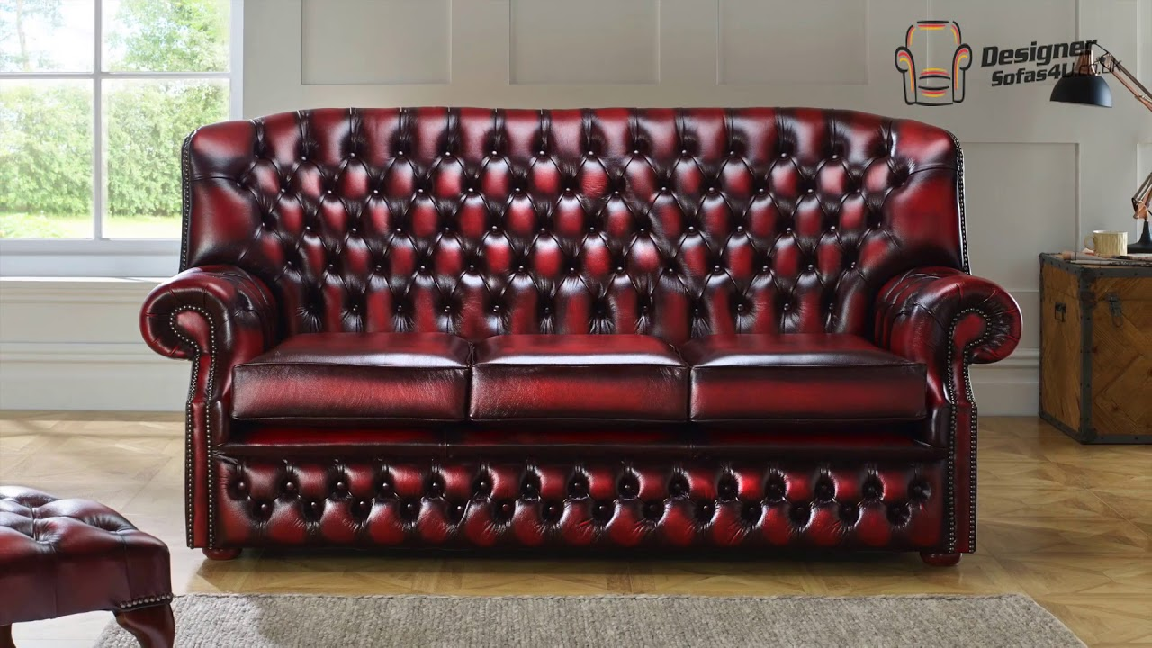 Monks Style Chesterfield Oxblood Leather Sofa Designer Sofas 4u