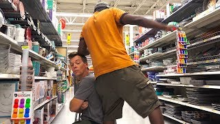 Farting on People of Walmart with The Pooter - Man Almost Falls After Fart!