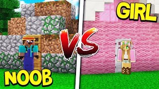 NOOB HOUSE VS GIRL HOUSE! - MINECRAFT!
