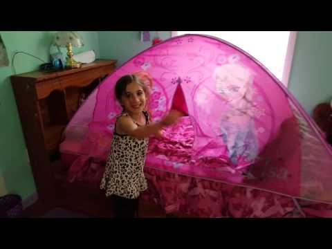 I got a Frozen Bed tent!  sc 1 st  YouTube : playhut bed tent - memphite.com