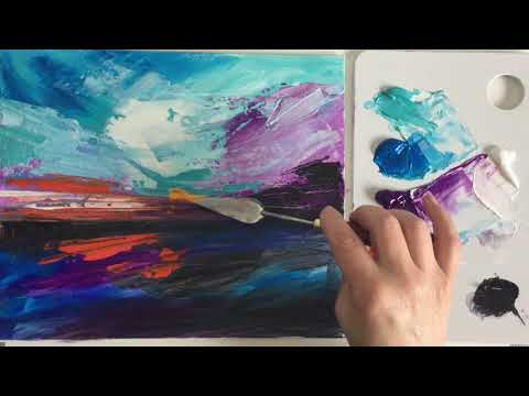 Abstract Landscape Painting Demo /Easy Viewing /Relaxing