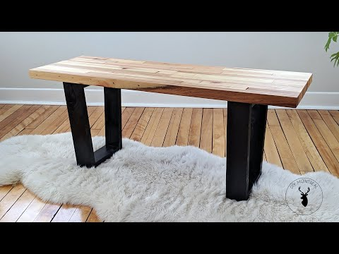 Trapezoid leg bench | Reclaimed wood from solid core door