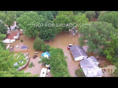 08-21-18 Mazomanie, WI - Drone Views of RECORD Flash Flooding and Town underwater