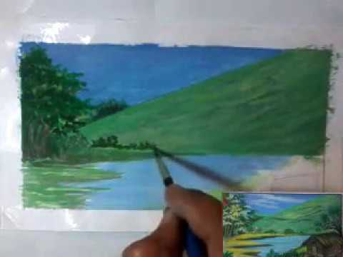 kids poster colors Landscape Painting.simple and easy.