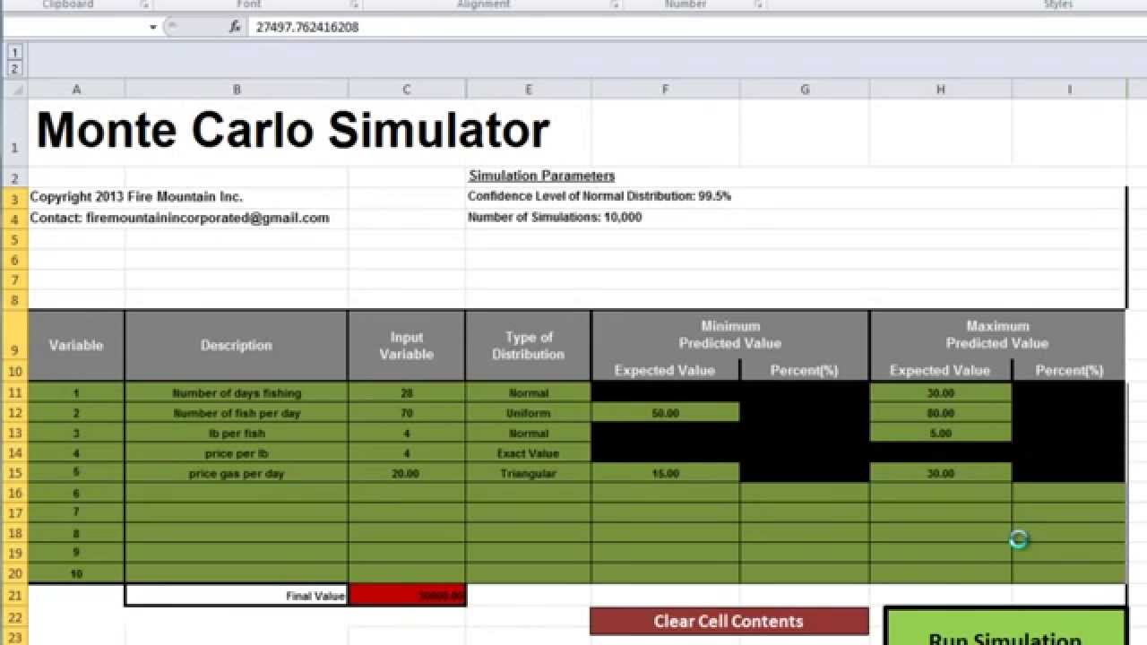 excel monte carlo simulator youtube