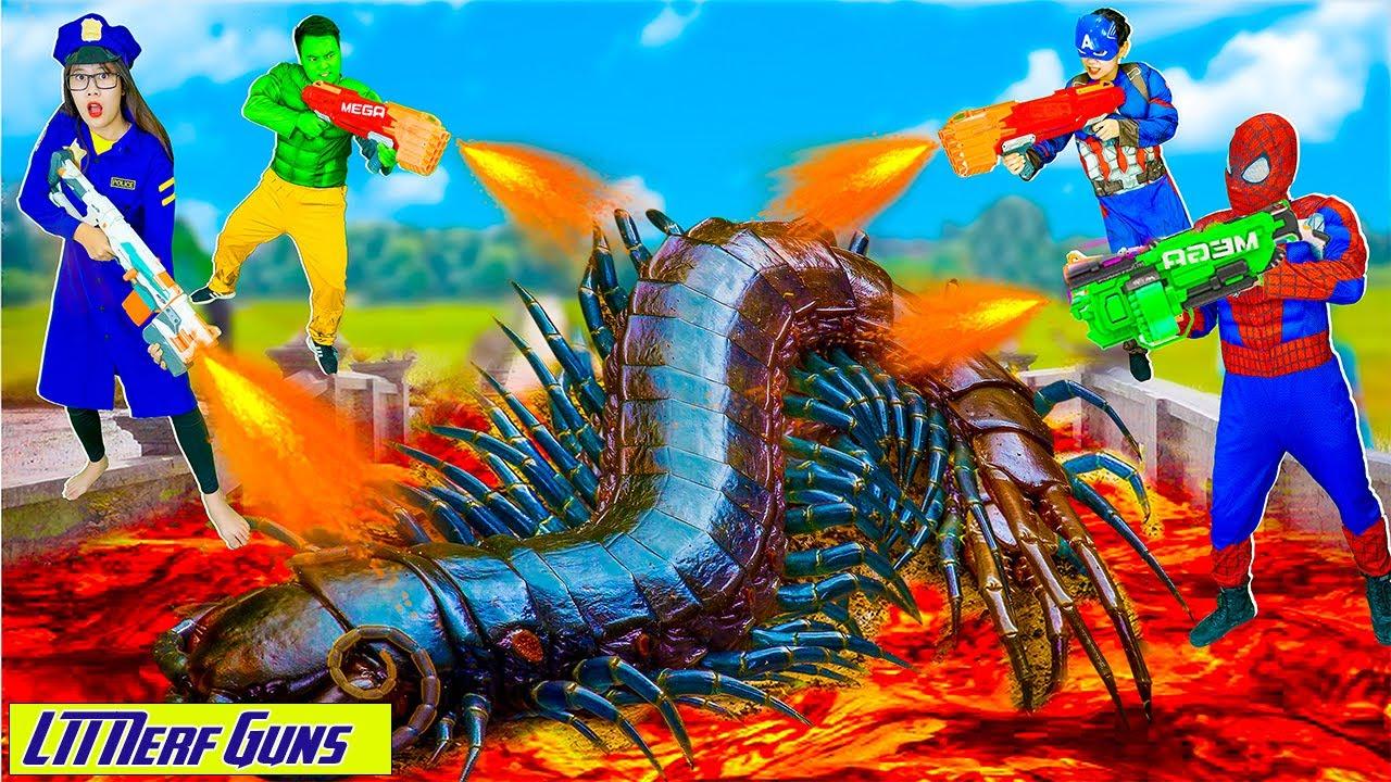 LTT Nerf Guns: Spiderman X-Shot Nerf Guns Fight Against Criminal Group Joker & Centipede Monster