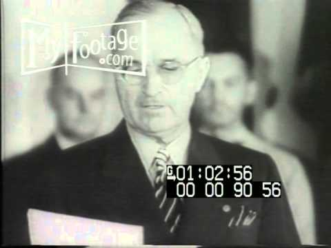 1945 Truman Announces Unconditional Japanese Surrender Stock Footage HD