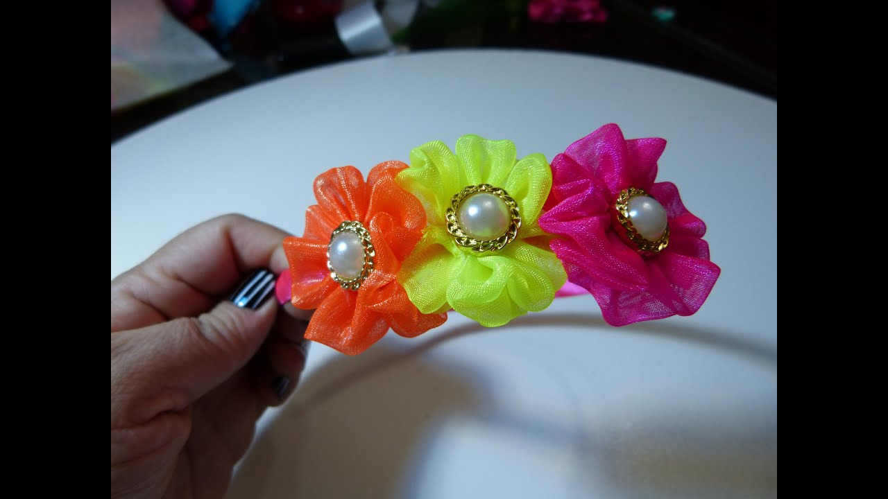 Diademas para ni as ribbon hair bow diademas de list n - Flores para diademas ...