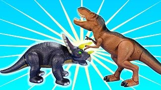 Walking Dino T-rex and Puppet T-Rex Battle! Fun Dinosaurs Triceratops Spinosaurus Toys For Kids