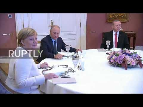 Turkey: Erdogan hosts dinner for Putin, Merkel, and Macron after Syria summit