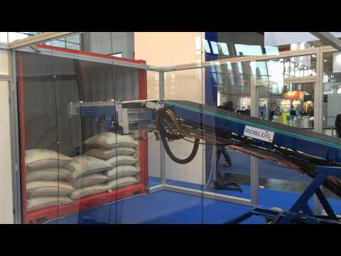 RobLog Industrial Demonstrator (CeMAT 2014) in a Demo for Unloading of Coffee Sacks