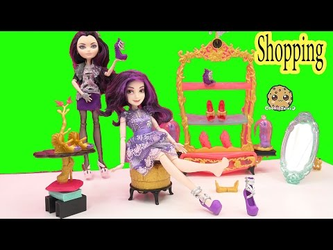 Ever After High Glass Slipper Shoe Store Playset with Disney Descendants + Raven Queen Dolls