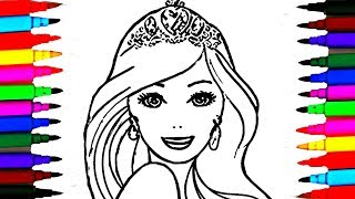BARBIE Elsa Anna Princess Mermaid Coloring Pages l How to Draw Barbie Dolls Coloring Drawing Pages