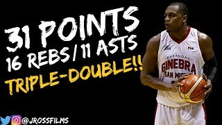 Justin Brownlee Triple-Double vs.TnT 11.4.2018 | 31 PTS, 16 REBS, 11 ASTS!