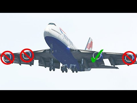 Landing A Boeing 747 Using Only ONE Engine In X-Plane 11