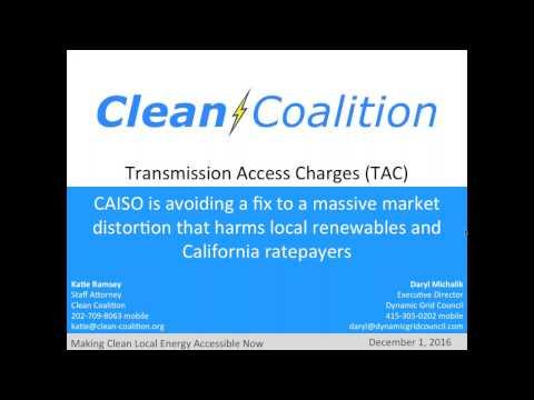 CAISO avoiding fix to massive market distortion that harms local renewables [WEBINAR] - 12/1/16