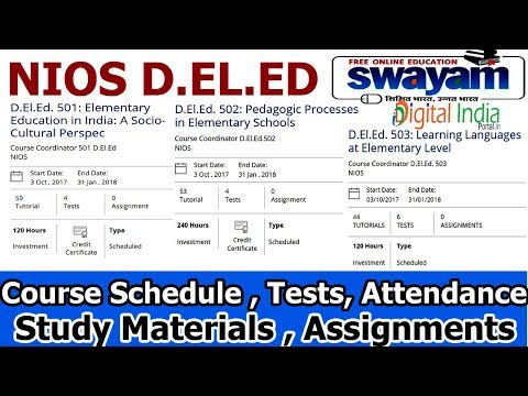 NIOS Swayam  D.EL.ED Course Enrollment Full Guide