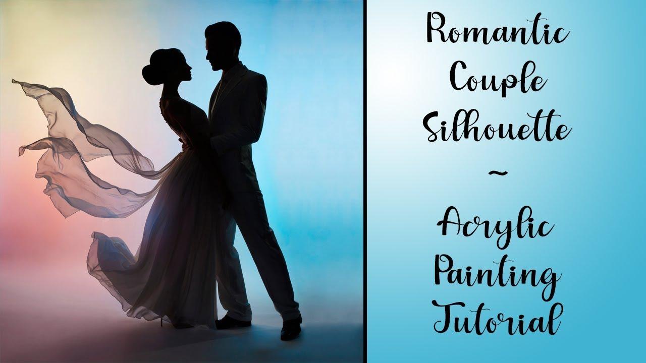 Romantic couple silhouette acrylic painting live tutorial