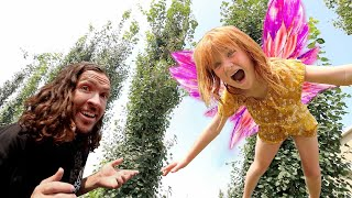 FAiRY DAY CARE!!  Hatching Baby Fairies with the family in our backyard! and new Trampoline Tricks!