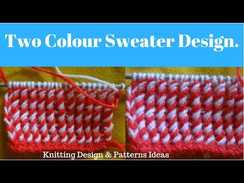 Two Colour Sweater Design Two Colour Knitting Pattern In Hindi