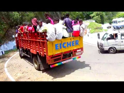 Kollimalai Hills : Eicher And Bus Omni Crossing 30/70 Hairpin Bend Hills Road Namakkal