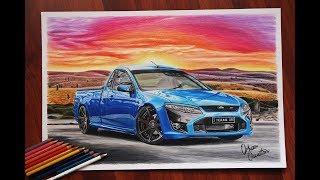FORD FALCON UTE FPV Sunset in Pilbara  Australia Car Drawing | Orhan Özvatan
