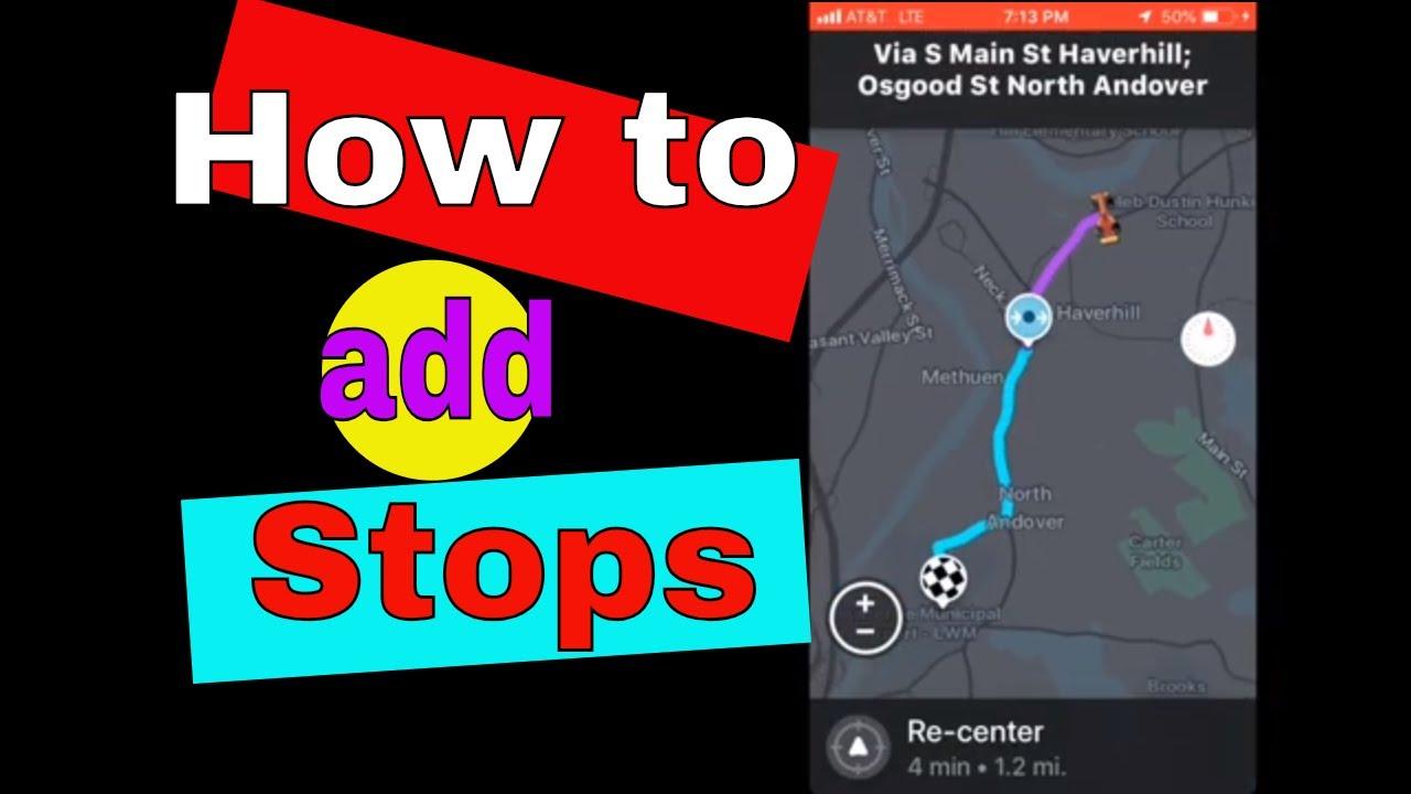 How to add a stop using Waze app