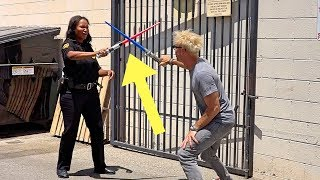 LIGHTSABER FIGHT ON FEMALE SECURITY PRANK!!! (COOLEST GUARD EVER!)