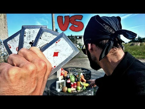 REAL LIFE GAMBIT (Steel Throwing Cards) VS EXTREME Fruit Ninja (Challenges/Test)