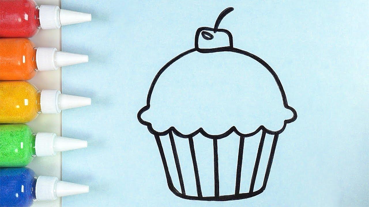 Cup Cake Belajar Menggambar Dan Berkilat Mewarnai Untuk Anak