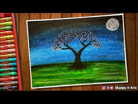 Download How To Draw Two Trees At Sea Night Scenery Drawing Using