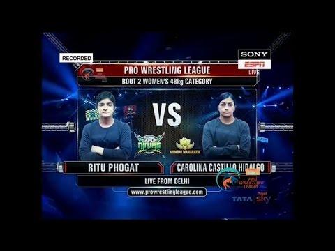 PWL 2017: Ritu Phogat Vs Carolina Castillo Hidalgo 9th Jan   Jaipur Ninjas Vs Mumbai Maharathi