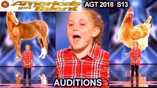 Lilly Wilker 11 years old Makes FUNNY ANIMALS SOUNDS Caller America's Got Talent 2018 Auditions AGT