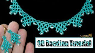 Beaded Necklace with Preciosa SeedBeads. 3D Beading Tutorial