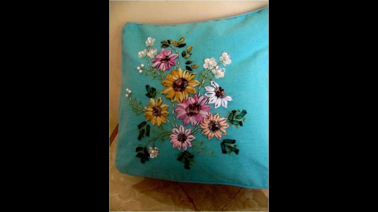 Diy cojines bordados en cintas girasoles diy cushions - Cojines de diseno ...