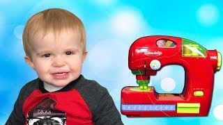 Lika Pretend Play with Toy Sewing machine\ New clothes for Little BROTHER JoyJoy  Lika