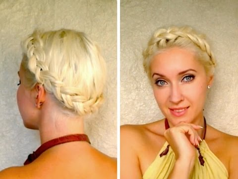 Dutch crown braid tutorial for medium long hair milkmaid braids dutch crown braid tutorial for medium long hair milkmaid braids shoulder length updo hairstyle ccuart Gallery