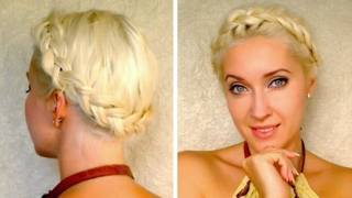 Dutch crown braid tutorial for medium long hair Milkmaid braids shoulder length updo hairstyle