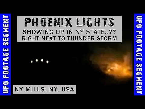 UFO SIGHTING VIDEO • Phoenix Lights in NY..? • During Thunder Storm