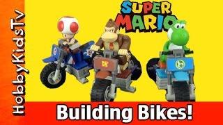 MarioKart 7 Toad Donkey Kong Yoshi Bike Build K'nex Nintendo HobbyKidsTV